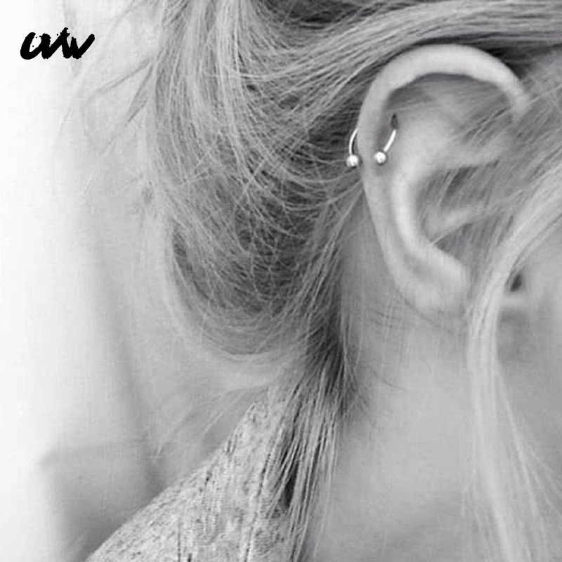 UVW037 1pc Trendy Surgical Steel C Shape Segment Tragus Fake Septum Nose Rings Stud Helix Piercing Body Jewelry Women Earrings