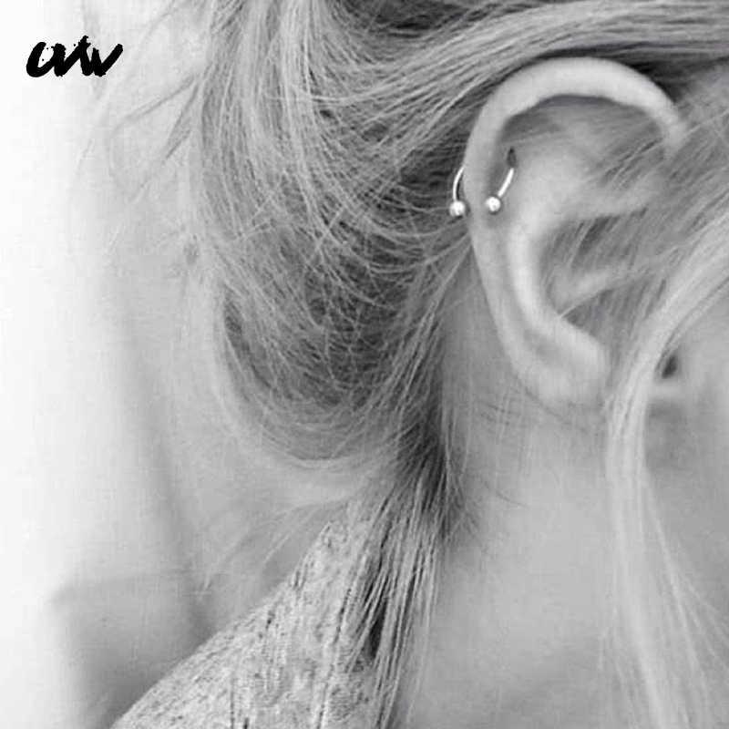 UVW037 1pc טרנדי כירורגי פלדה C צורת קטע Tragus מזויף מחץ האף טבעות Stud Helix פירסינג גוף תכשיטי נשים עגילים