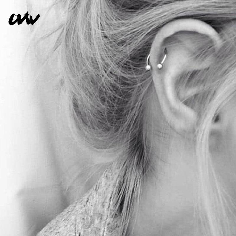 UVW037 1pc Trendy Surgical Steel C Shape Segment Tragus Fake Septum Nose Rings Stud Helix Piercing Body Jewelry Women Earrings