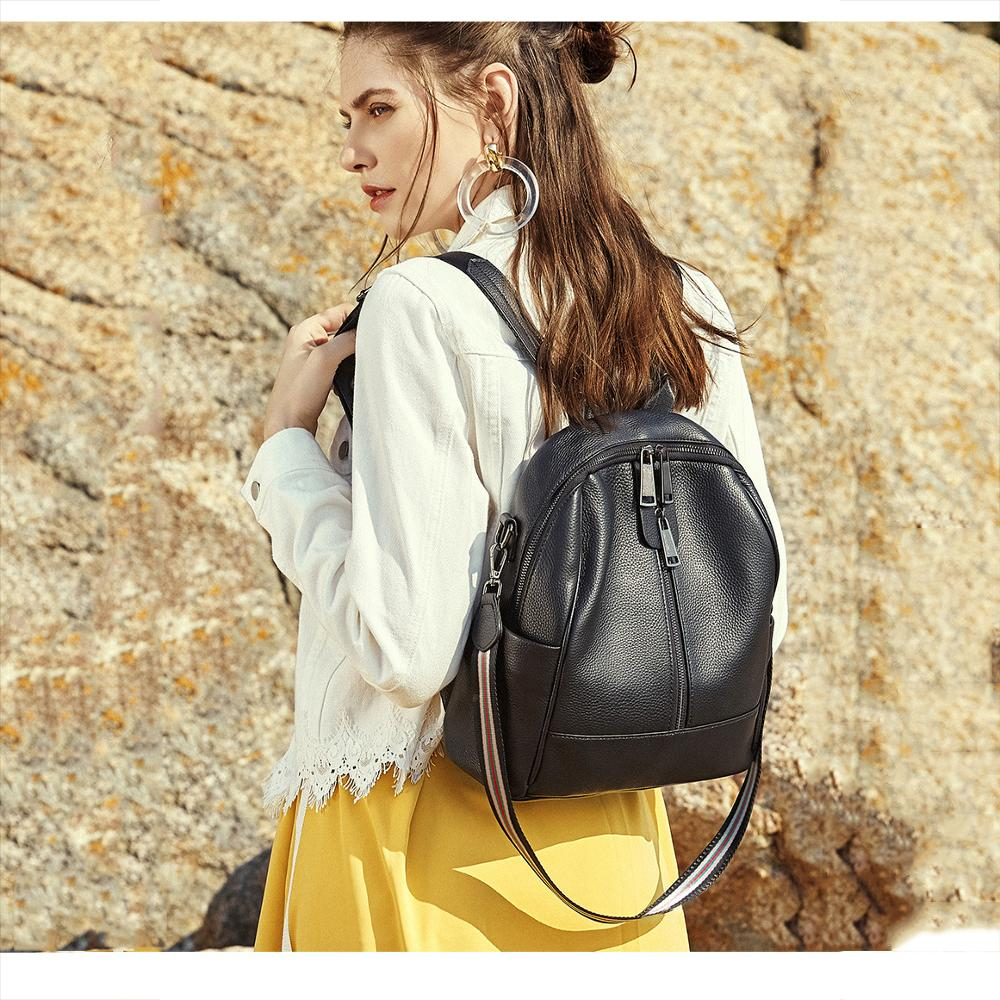 Brand Genuine Leather backpack women's Cowhide Shoulder Bags Large-capacity waterproof soft leather student bag