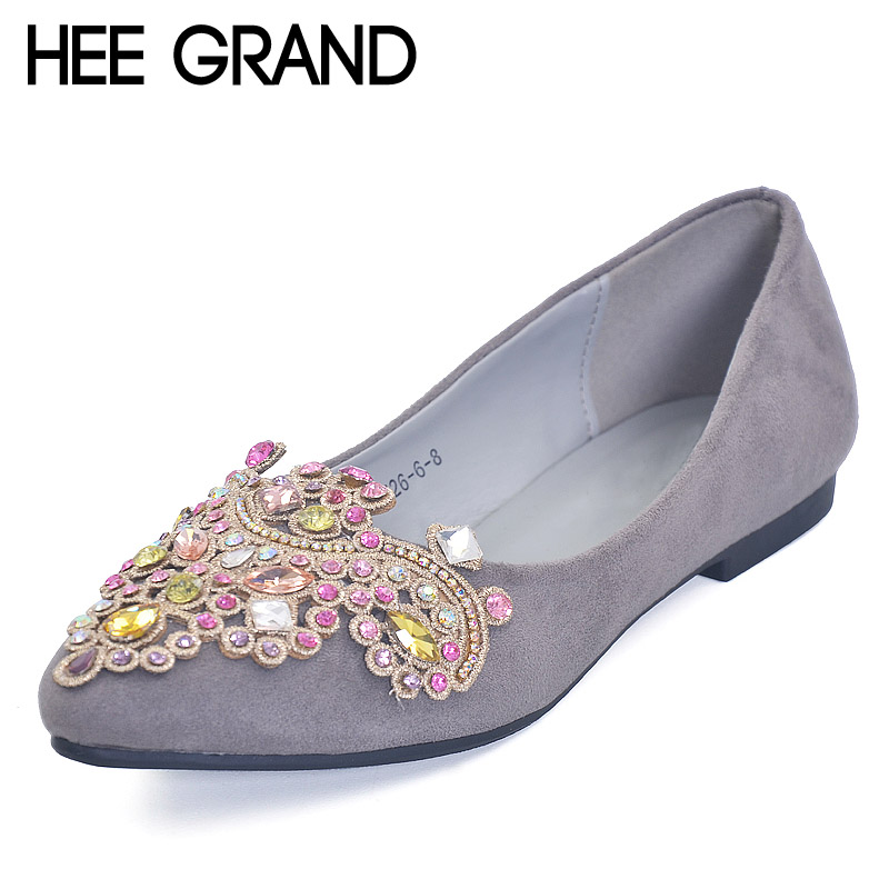 HEE GRAND 2017 Ballet Flats Crystal Casual Shoes Woman Bling Slip On Loafers Platform Elegant Women Shoes Size 35-41 XWD4959 hee grand summer gladiator sandals 2017 new platform flip flops flowers flats casual slip on shoes flat woman size 35 41 xwz3651