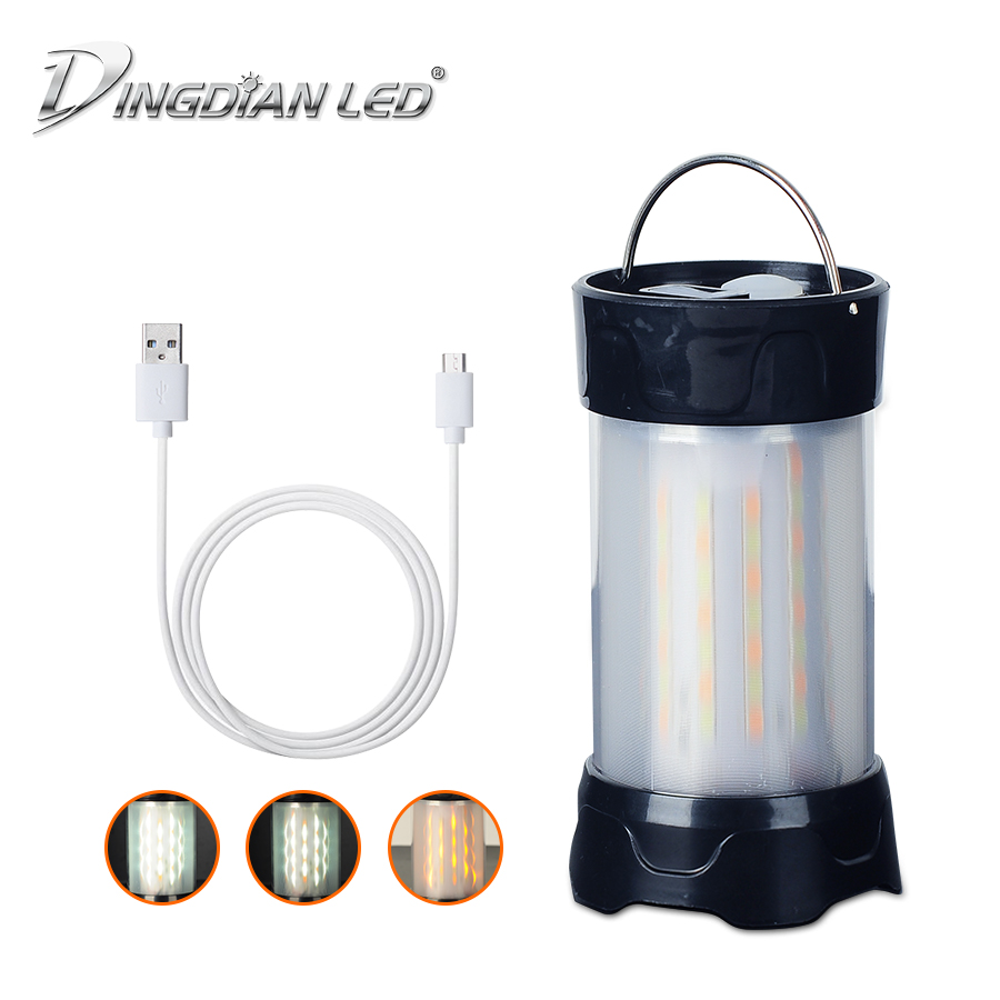 3W 18650 or AAA Battery Flashight LED Portable Lantern Outdroor with Hook USB Rechargable Cold/Warm White Camping Tent Light