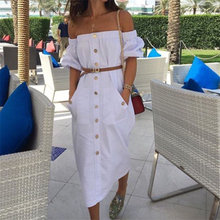 2018 White Summer Dress Women Off Shoulder Sexy Strapless Midi Dresses Club Party Ladies Straigh Sundress