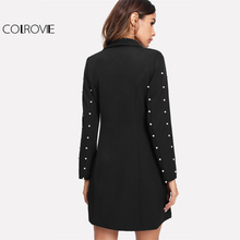 Pearl Beading Longline Single Breasted Shawl Collar Blazer