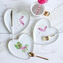Creative Peach Heart Shape Flamingo Ceramic Fruit Salad Plate Gold Plated Spaghetti Dish Coffee Mug Drinkware Cup Birthday Gifts