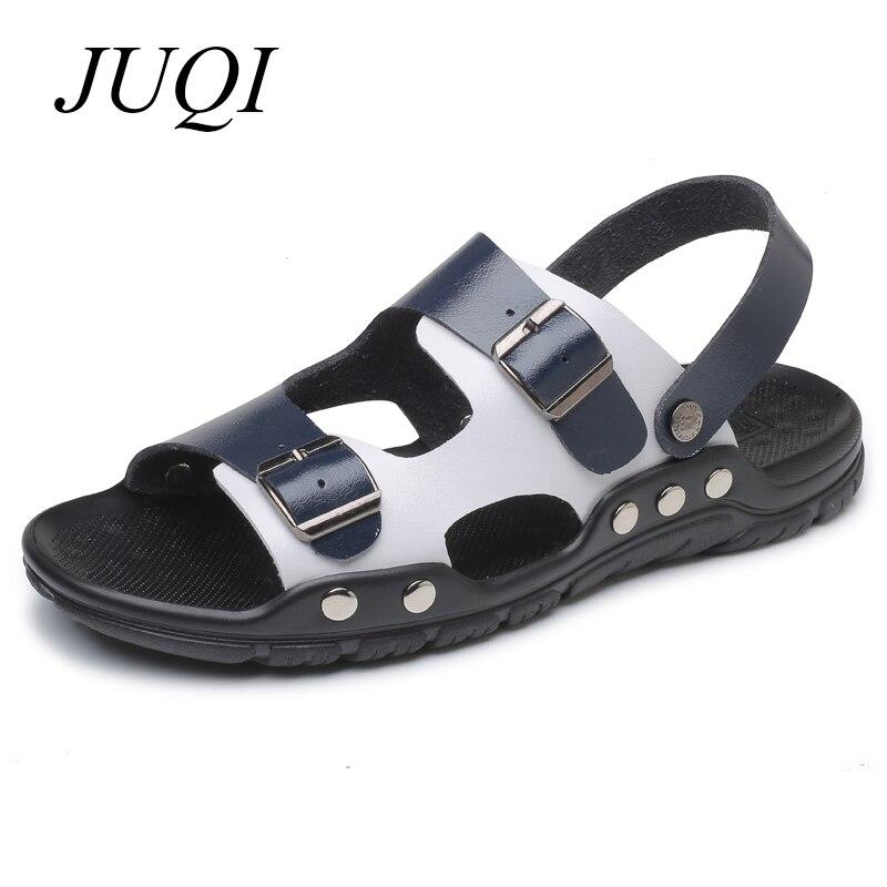 JUQI Men Sandals Microfiber Leather Beach Shoes Summer Casual Slipper Plus Big Size 38-47