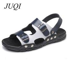 JUQI Men Sandals Microfiber Leather Beach Shoes Men Summer Casual Slipper Plus Big Size 38-47