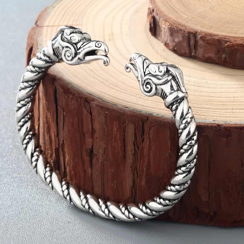 Kالأولي اليدوية باغان فايكنغ الذئب/الغراب/التنين أساور أساور للرجال خمر المفتوحة الملتوية الكفة الإسورة هدية