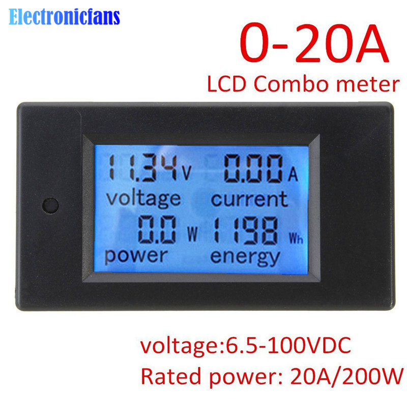 DC 6.5~100V 0~20A 4 In 1 Digital Voltage Current Power Energy Meter Large LCD Screen DC Voltmeter Ammeter