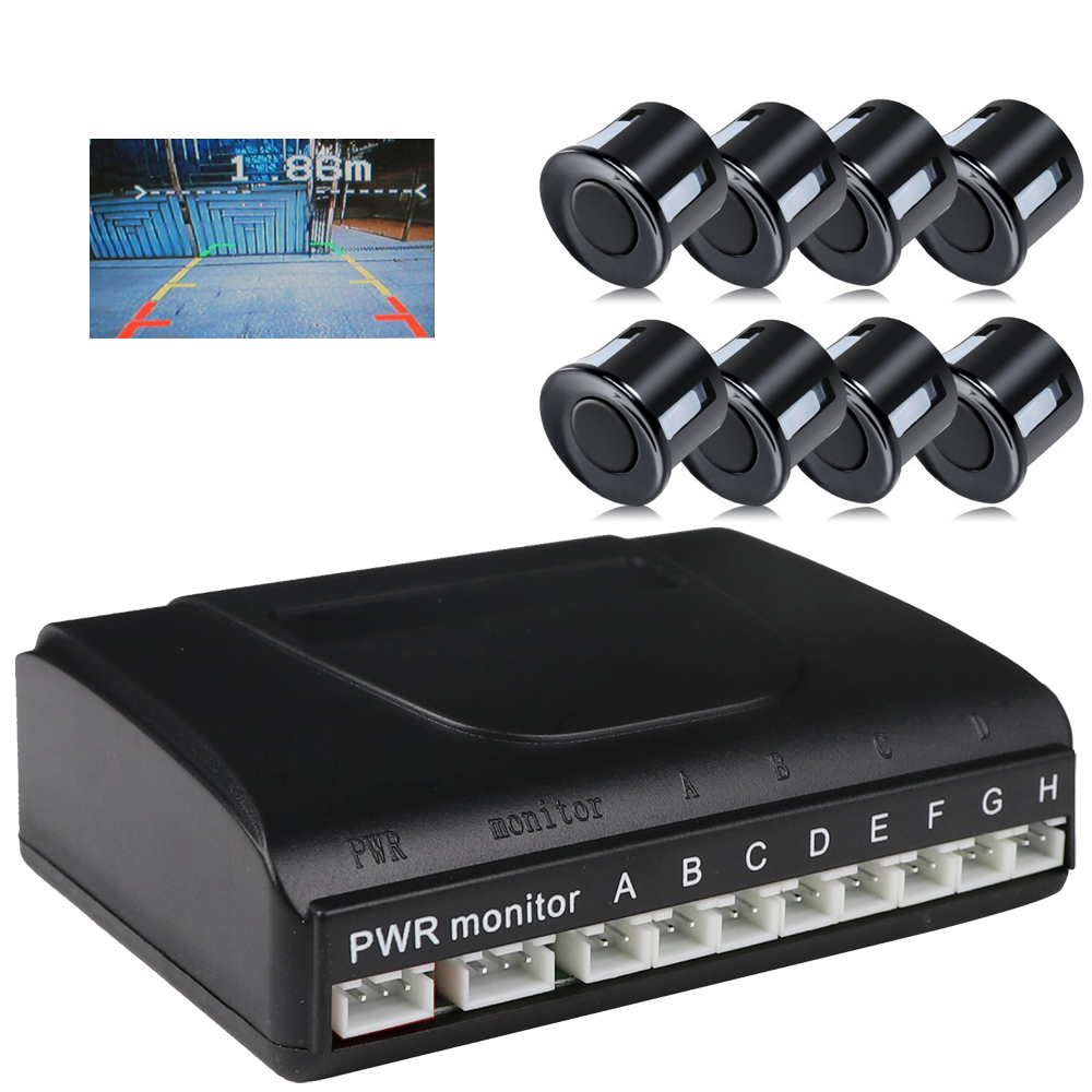 ANSHILONG 8 Parking Sensor Car Vehicle Reverse Backup Radar System Support Front and Rear View Camera