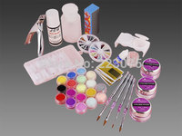 Real Uv Gel Nail Kit 18 Colors Acrylic Color Powder with French Nail Tips / Brush Glitter Manicure Full Set