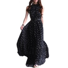 Summer Polka Dots Dress Boho Long Maxi Chiffon Dress Empire Halter Sleeveless Casual Dresses Plus Size beach Long Dress vestidos цена 2017