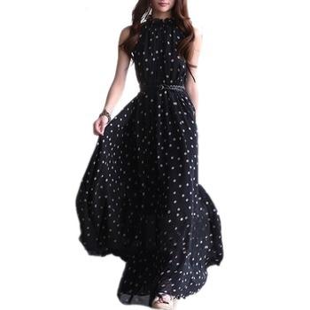 Summer Polka Dots Dress Boho Long Maxi Chiffon Dress Empire Halter Sleeveless Casual Dresses Plus Size beach Long Dress vestidos цена 2017