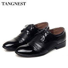 Tangnest 2017 Classical Men Dress Shoes Vintage Men's Oxfords Flats Black Brown Leather Business Shoes Man Big Size 38~45 XMP418
