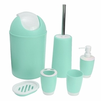 6Pcs Set Bathroom Accessory Sets Trash Bin Soap Dish Dispenser Toothbrush Paste Holder Toilet Brush Set
