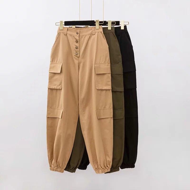 davidyue High waist   pants   loose joggers women army harem camo   pants   streetwear punk black cargo   pants   women   capris   trousers