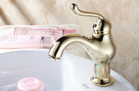 Europe type copper faucet gold finish hot and cold basin faucet bathroom basin tap