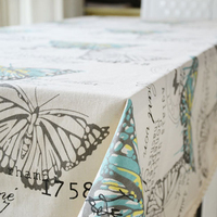 New Rectangle Square Pastoral Butterfly Tablecloth Cotton Linen Dinner Table Cloth Decoration Kitchen Coffee Lace Table