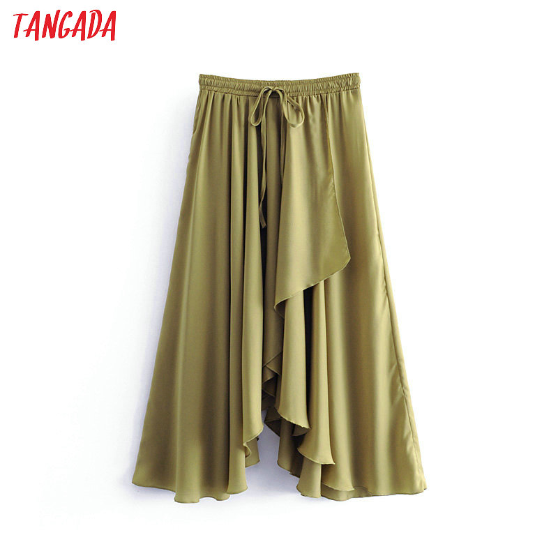 Tangada women vintage asymmetric skirt elastic waist green retro ladies fashion chic mid calf skirts faldas mujer 6A234(China)