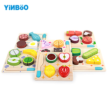 Деревянная игрушка кухонная резка фрукты овощи десерт дети приготовления ролевых игр еда ненастоящая Игра Головоломка Развивающие игрушки для детей