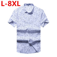big size 8XL 7XL 6XL New Arrival 2017 Summer Men Shirt Short Sleeve Casual Slim Fit Design Shirts For Male High Quality cotton