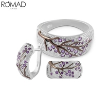 ROMAD Ethnic Crystal Earrings For Women Rose Flower Rhinestone Earrings Party Jewelry Gem Zircon Stone Ring Plant Leaf aretes R5 a suit of gorgeous leaf rhinestone openwork necklace bracelet ring and earrings for women