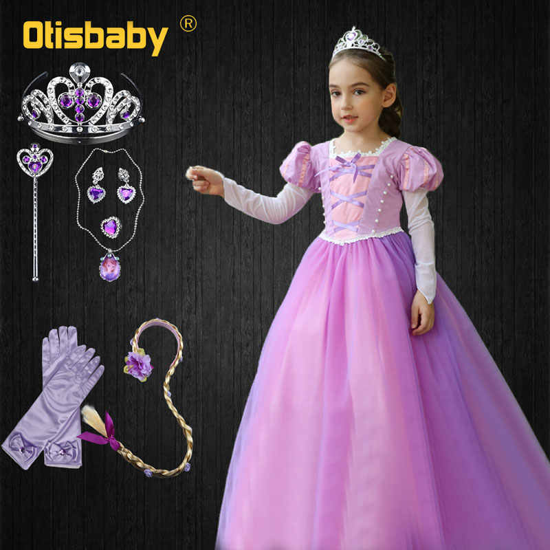 36cd60c61d 2019 fantasía princesa Rapunzel vestido la enredado Carnaval de Halloween  Disfraces para niñas niños de manga