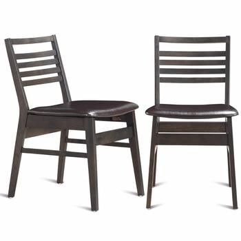 Conjunto Giantex de 2 sillas laterales de comedor sin brazos de cuero PU  asiento tapizado patas de madera muebles para el hogar HW59408