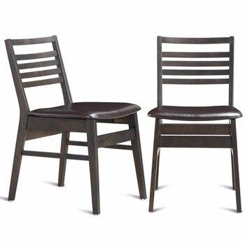 Giantex conjunto de 2 comedor lado sillas sin brazos de cuero de la ...