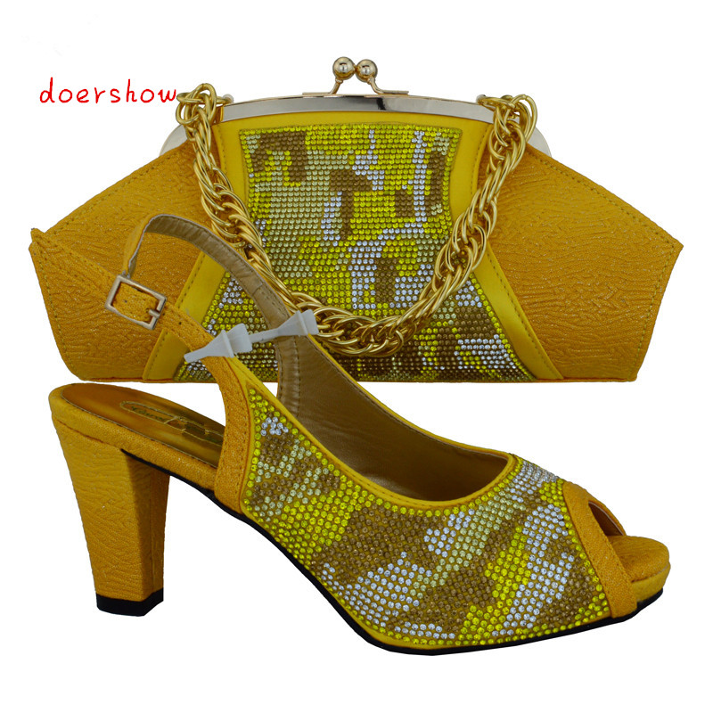 doershow beautiful African Shoes and Matching Bags set for women with plenty glass and Italy Shoes