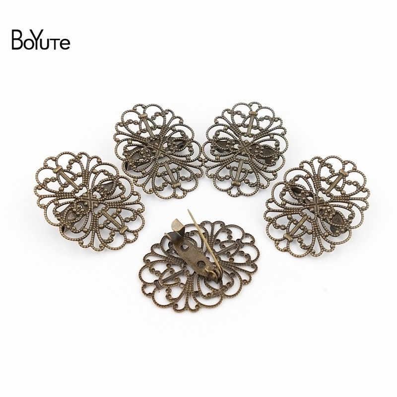 Boyute 20Pcs Kerawang Bunga Bros Dasar Gaya Vintage Antik Perunggu Berlapis DIY Buatan Tangan Bros Dasar Perhiasan Aksesoris