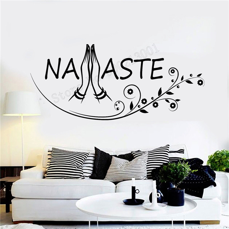 Art  Wall Sticker Yoga Vinyl Removeable Poster Buddhism Hinduism Decoration Namaste Mural LY226