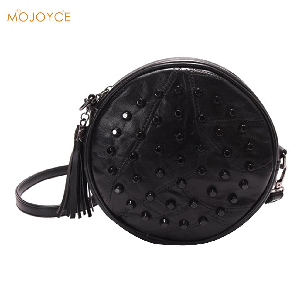 Sheepskin Messenger Bags Women Brands Rivet Cute Round Mini Shoulder Bag 2018 Crossbody Bag Black Tassel Ladies Leather Handbags все цены