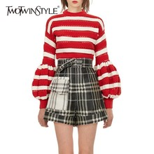 TWOTWINSTYLE Striped Womens Sweater Large Size Hit Color Lantern Sleeve Knitted Pullover Female 2018 Autumn Korean Style Fashion