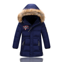 Children Winter Jacket Long Thick Duck Down Coat for Boy Girl Warm Fur Collar Hooded Winter Outerwear Kid Winter Windproof Parka