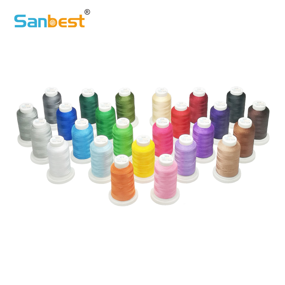 Sanbest 25 Colors Polyester Embroidery Thread 120D 2 1000M 50 Free Bobbins 70D 2 Brother Singer