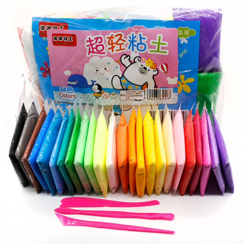 24pcs\ Colored Clay Plasticine Modelling Kit Clay Air Dry Light DIY Sand Slime Soft Creative Handgum Play Toys Clay For Kids ZJD
