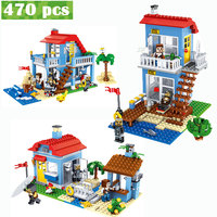 Qunlong 470PCS MY World Beach House 3 Models Building Blocks Sets Compatible LegoINGLY Minecrafted Creator Bricks Toys For kids