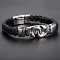 Gift 12mm Knot Charm Mens Chain Wristband Braided Silver Gold Tone 316L Stainless Steel Black Genuine