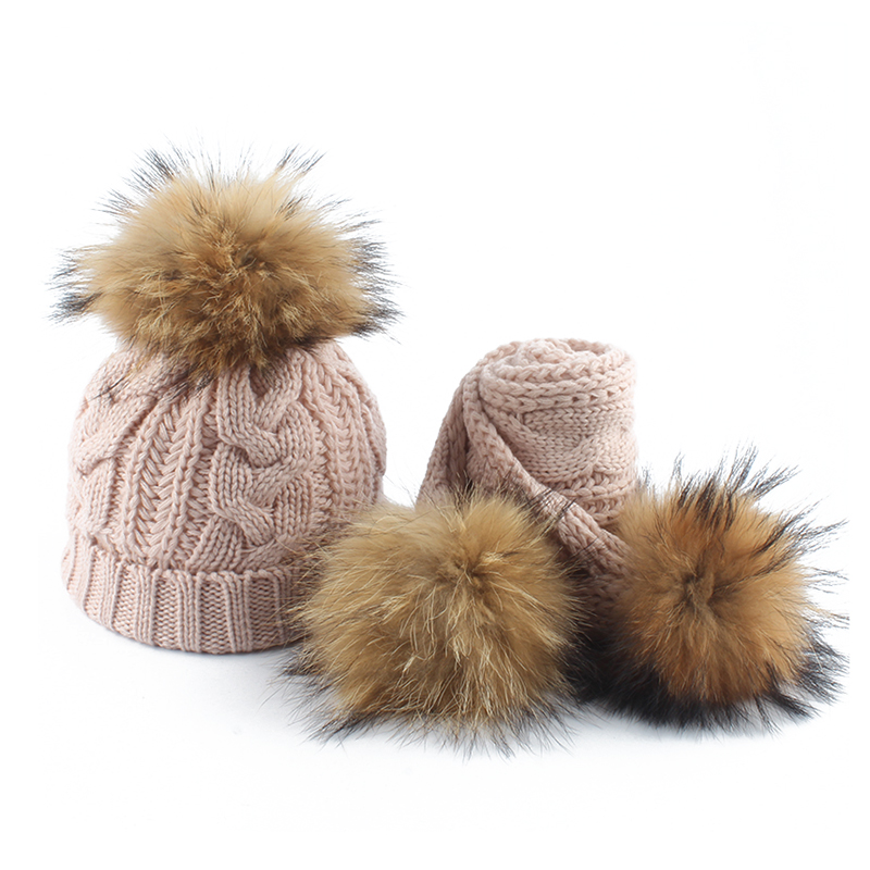 Kids Winter Hat Children Real Fur Pompom Hat And Scarf Fleece Inside Twist Pattern Knitted Hats Baby Cotton Skullies Beanies