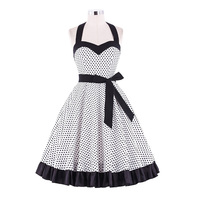 Belle Poque Kobiet 2017 Lato Kobiety Halter-Line Huśtawka Ruffles Dress Panie 50 s Retro Kropki Plaża Vestidos Z pasy