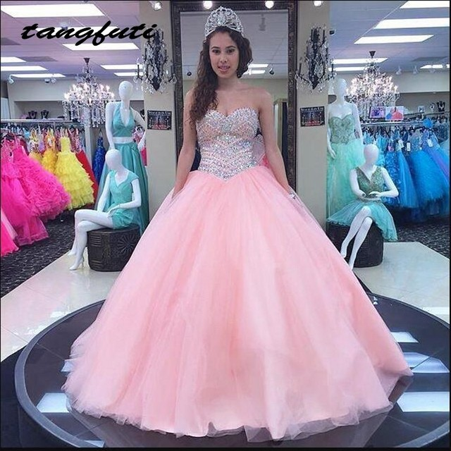 173bb758eab Pink Princess Quinceanera Dresses Ball Gown Long Beaded Masquerade Prom  Party Sweet 16 Dresses vestido de 15 anos baile
