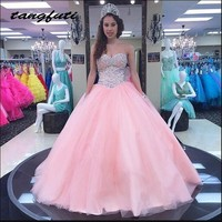 Pink Princess Quinceanera Dresses Ball Gown Long Beaded Masquerade Prom Party Sweet 16 Dresses vestido de 15 anos baile
