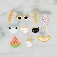 Sommer Urlaub Cartoon Wassermelone Zitrone Kaktus Katze Sonnenbrille Blatt Eis Am Stiel Emaille Pin Abzeichen Kawaii Pin Broschen