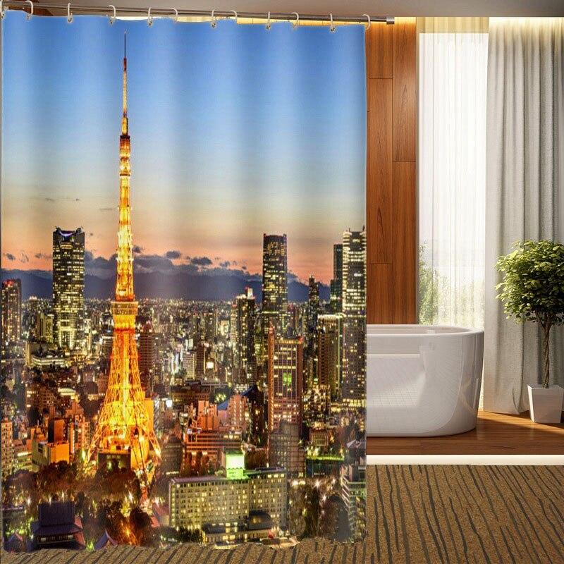 MYRU 3D Torre de Impresión Impermeable Cortinas de baño Productos de Baño Decora