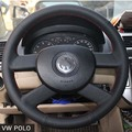 Case for Volkswagen VW POLO car steering wheel cover Genuine leather DIY Car styling wheel cover Interior decoration