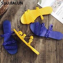 купить Summer Brands Women Jelly Flip Flops Shoes Peep Toe Casual Beach Slippers Anti-slip Footwear Slides Shoes Flat Slippers по цене 613.76 рублей