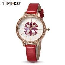 Time100 mujeres relojes de cuero rojo pulsera de cuarzo para las mujeres shell dial señoras reloj relogio feminino