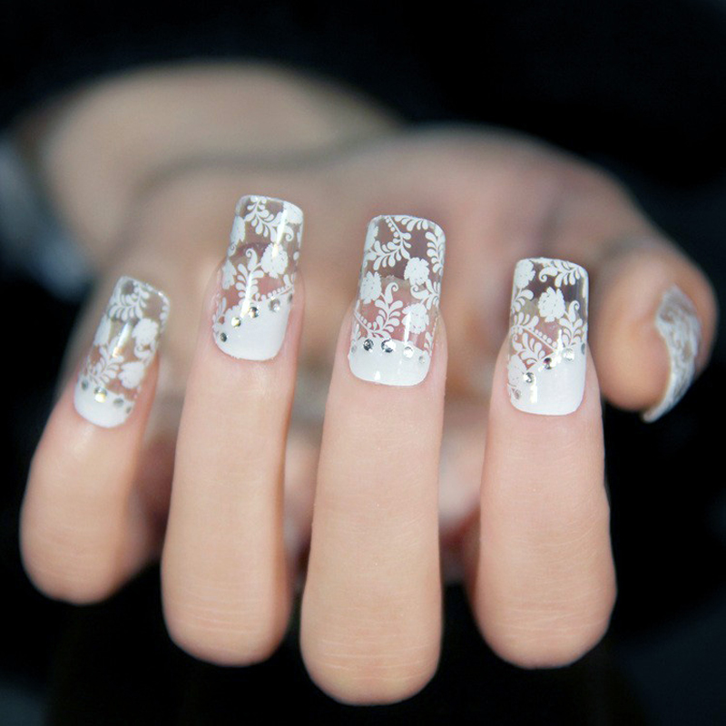 Diseño de moda de Encaje Adhesivo Nail Art Stickers Flores Blancas Decoración Etiquetas Del Clavo Ultrafino