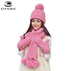 CIVICHIC Warm Gift Knit Hat Scarf Glove 3 Pcs Set Velvet Headwear Cap Thicken Mittens Lovely Pompons Shawl Crochet Beanies SH195